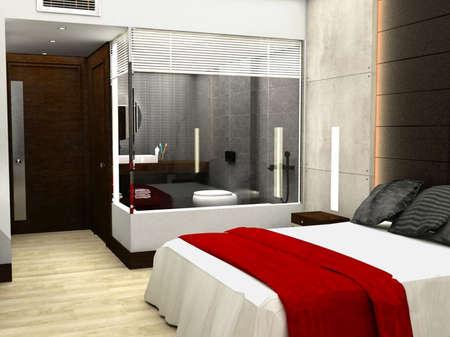 3D rendering of bedroom or hotel room