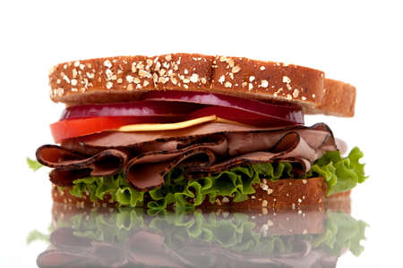Roast beef sandwich with whole wheat bread photo