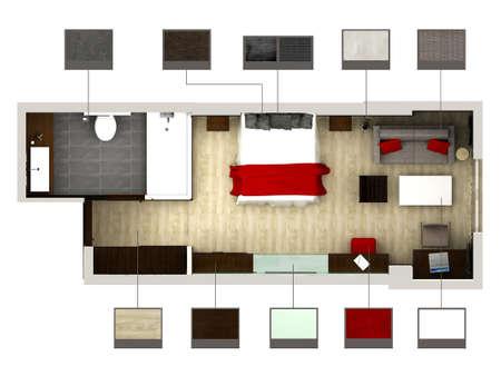 3D rendering of bedroom or hotel room Stock Photo - 5851967