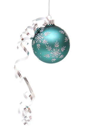 Blue Christmas ornament on white background