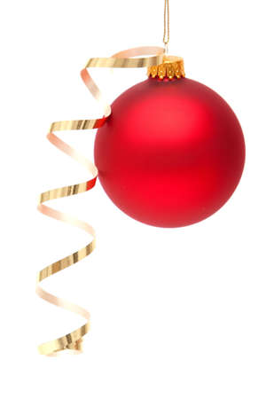 Red Christmas bauble with ribbon on white background photo