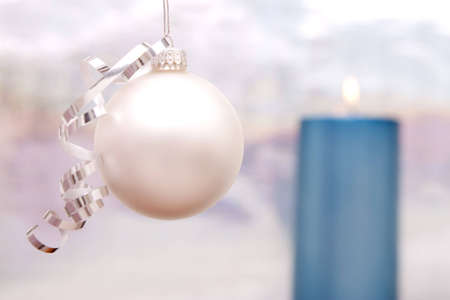 Beautiful Christmas decor with ornament and candle Reklamní fotografie