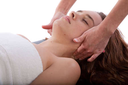 deeptissue: Massage therapist massaging womans neck
