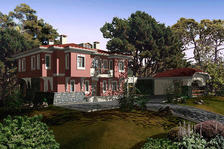 rendering: 3D render of a house exterior Stock Photo