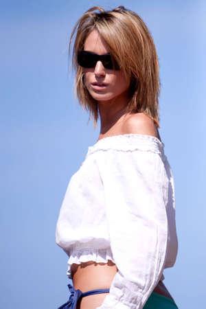Beautiful blonde woman in sunglasses Stock Photo - 5984690