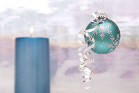 Beautiful Christmas decor with ornament and candle Stok Fotoğraf