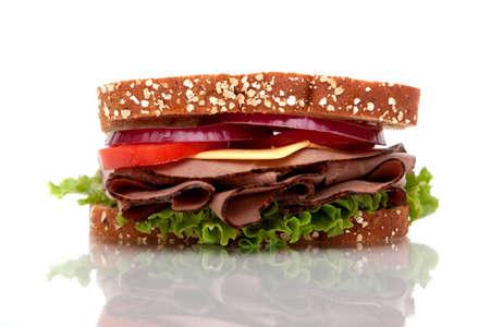 Roast beef sandwich with whole wheat bread Archivio Fotografico