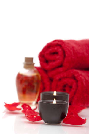 Spa items with rose petals photo