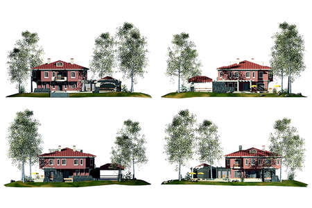 fachadas de casa: Representaci�n 3D de fachadas de casa  Foto de archivo