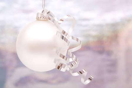 Silver Christmas ornaments with shiny ribbon Stok Fotoğraf