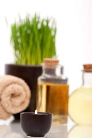 Various spa items on white background photo