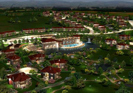 suburbs: 3D render of a suburban neighborhood Stock Photo