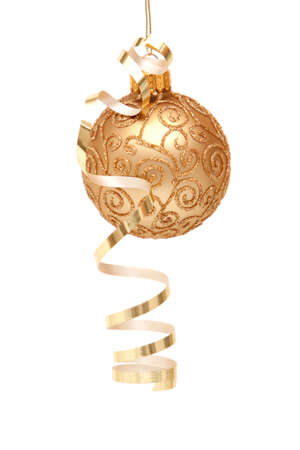Gold Christmas ornament on white background