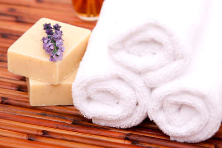 Spa towels with bath soaps and lavender