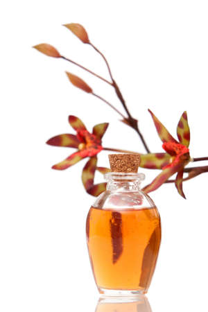 Essential oils and orchid on white background