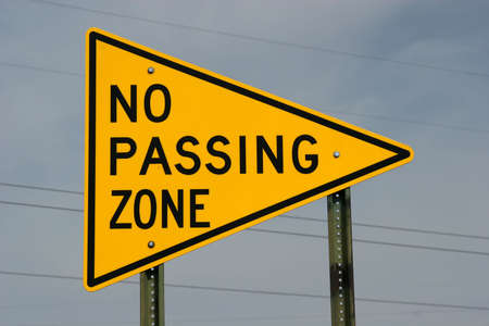 No passing zone highway road sign