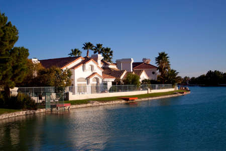 Houses in a waterfront neighborhood photo