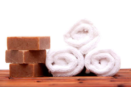 Bath towels and soap bars