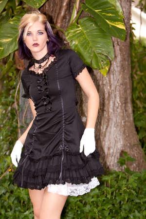Alternative girl in mini dress