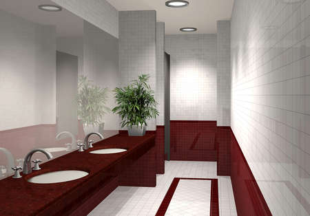 bathroom design: 3D render of modern bathroom