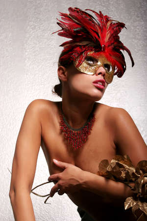 african american woman: Sexy African American woman in mask Stock Photo
