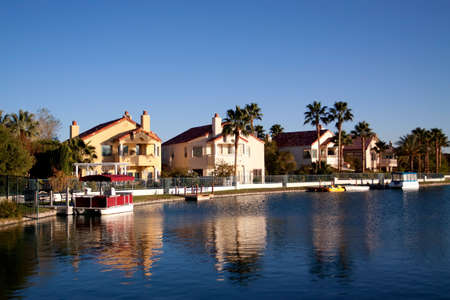 Houses in a waterfront neighborhood