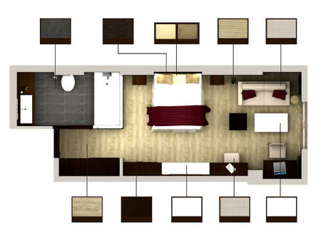render: 3D rendering of bedroom or hotel room