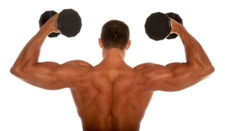 muscular body: Muscular body builder on white background Stock Photo