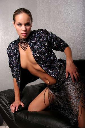 biracial: Beautiful sexy African American woman Stock Photo