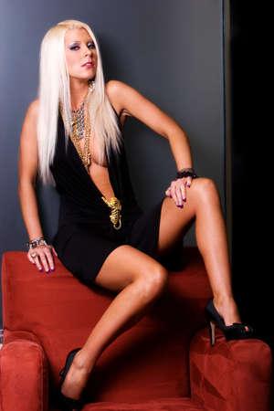 Blond woman in sexy mini dress