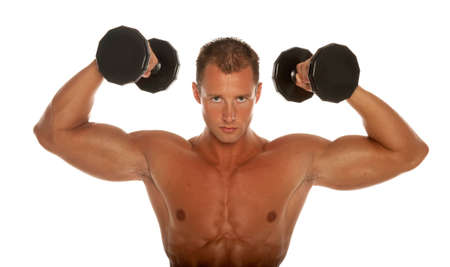 body building: Muscular body builder on white background Stock Photo