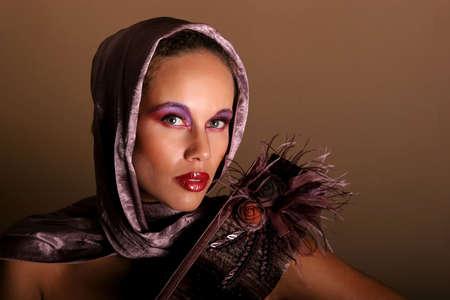 Beautiful African American woman in scarf photo