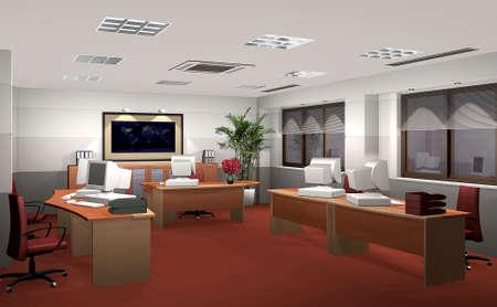 사무실의 3D 렌더링 스톡 콘텐츠