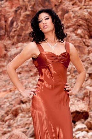 Young brunette woman in evening dress Stock Photo - 6680443