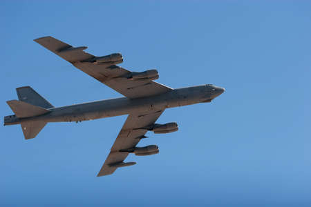 airshow: B52 heavy bumber airplane flying at the airshow
