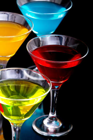 Colorful martini cocktail drinks