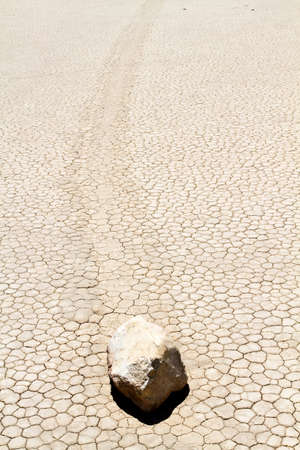 Rocks are movig on desert ground in Death Valley California