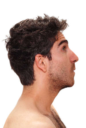 man profile: Man with surprised facial expression