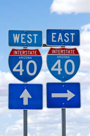 Interstate 40 direction sign in Arizona USA photo