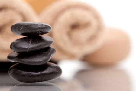 lastone therapy: Lastone therapy stones with spa towels Stock Photo