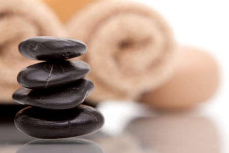 lastone: Lastone therapy stones with spa towels Stock Photo