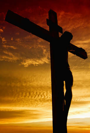 the passion of christ:  Crucifixion of Jesus during sunset