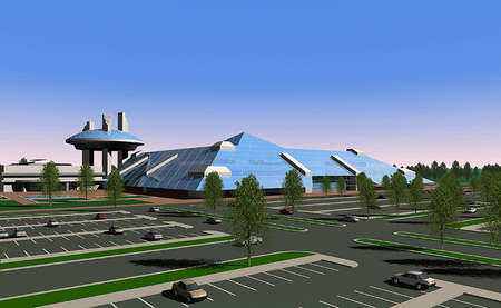 render: 3D render of a shopping center