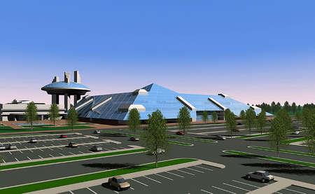 rendering: 3D render of a shopping center