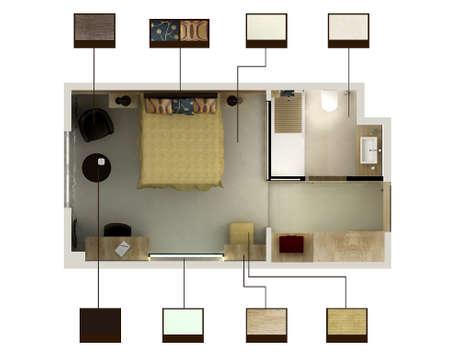 3D Render of ein Hotelzimmer oder Schlafzimmer