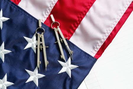 indoor shot: Bandera de Estados Unidos portarretrato interiores shot  Foto de archivo