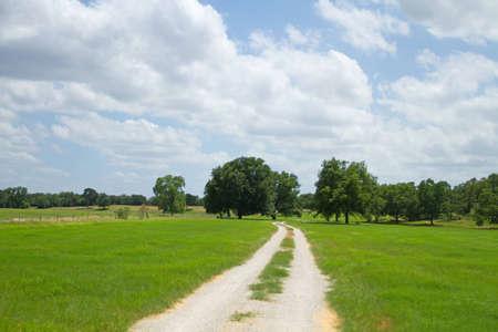 going in: Camino de tierra que va a una granja  Foto de archivo