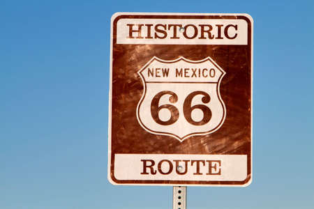 Historic grunge looking route 66 sign in new mexico photo