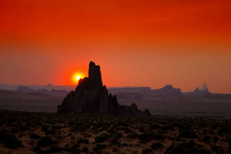 Monument Valley in Arizona during sunset Stock Photo