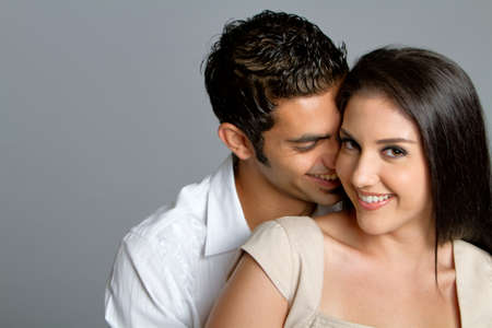 Young happy multiracial couple in love Banque d'images